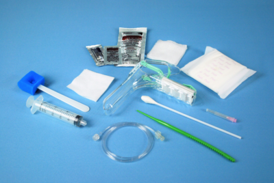 Some items included in the HSG Catheter Kit